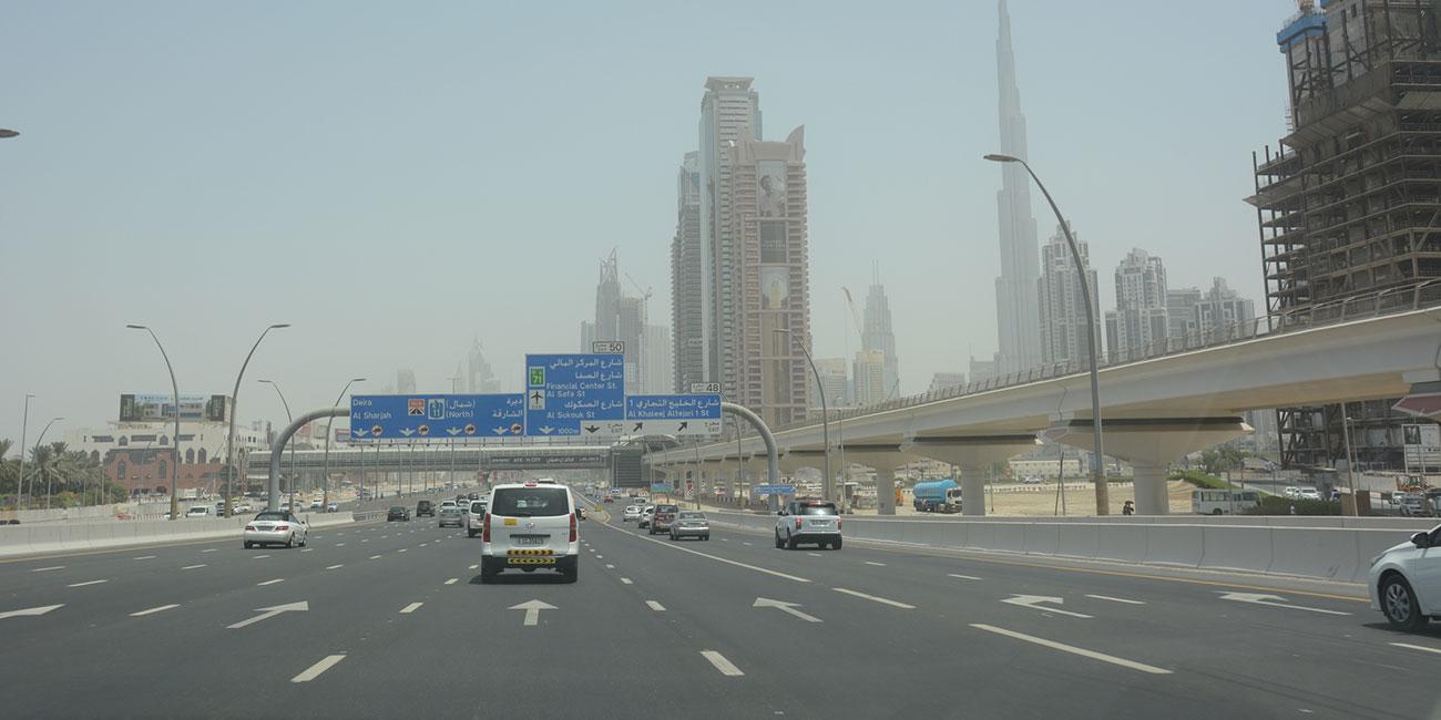 Dubai streets driving