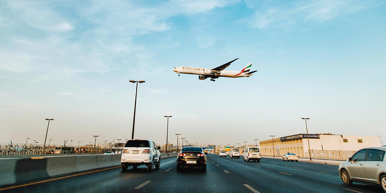 Emirates airplane taking off from UAE